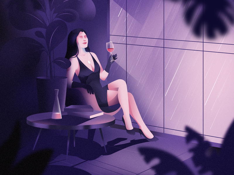 Simple thoughts lockdown chillout wine atmosphere realistic woman character illustration
