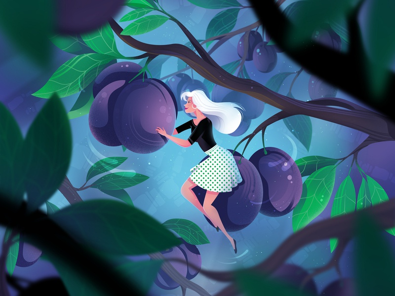 Among the plums character nature woman plums plum illustration
