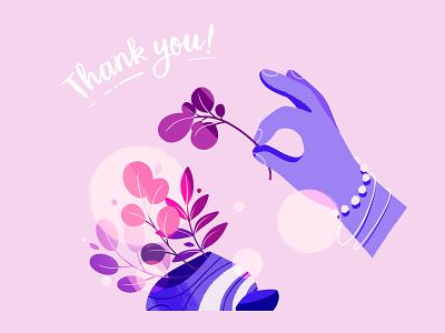 Thank you! purple pink handdrawn minimalistic hand plants plant thanks you thank