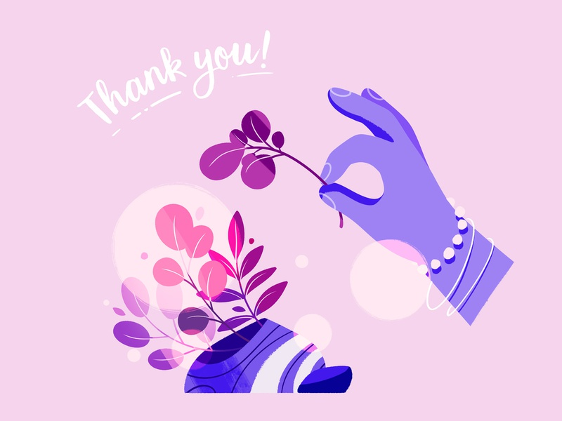 Thank you! purple pink handdrawn minimalistic hand plants plant thanks you thank