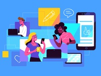 Remote work video explainer technology characters illustration flat work remote