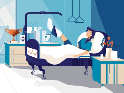 In a hospital medical health bed character sick illustration marketing video explainer woman patient hospital