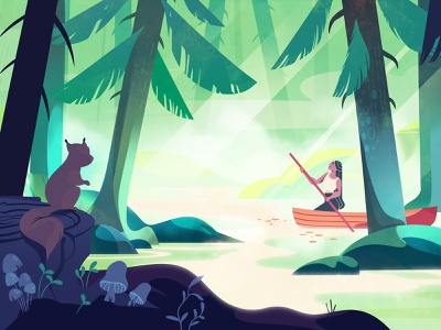 Forgotten forest squirrel animation 2d video explainer design character woman kayak canoe pocahontas forgotten forest illustration