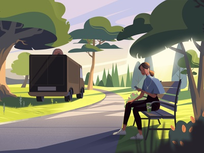 Coffee in the park coffee environment landscape plants park marketing 2d vector explainer video woman animation character illustration