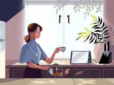 Tea time interior landscape tea vector explainer video woman character animation illustration