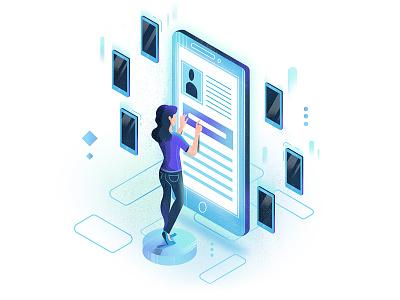 #3 Data illustration website uiillustration ui minimalistic isometric illustration data phone communication clean
