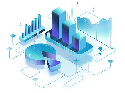 #4 Data illustration pie chart charts chart website uiillustration ui minimalistic isometric illustration data clean