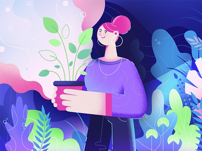 A new plant to my garden detailed colorful gardener blue purple woman flat  design flat garden plant