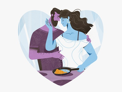 Cooking together clean website character ui design minimalistic flat together cooking couple illustration