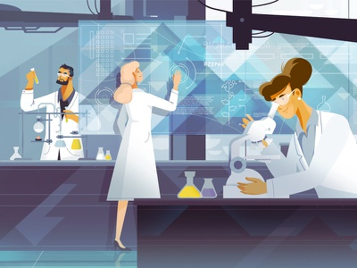TAA#3 - Laboratory manufacturing scientists scientist doctor doctors lab cosmetics medicine modern interactive laboratory man woman animation character illustration