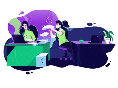 BGŻ BNP Paribas - Help your friend detailed colorful purple green communication clean help work bank character women uiillustration advertisement illustration