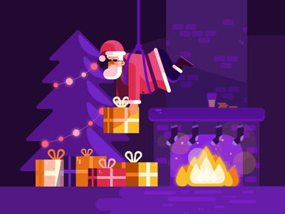 Santa Claus is coming illustration design flat tree christmas gifts presents coming claus santa