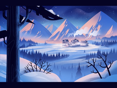 Winterland design 2d forest ice snow animation winter scene winterland landscape illustration winter
