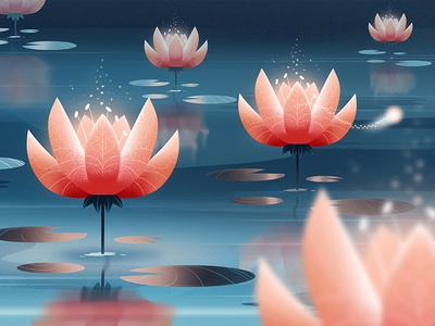 Glowing lilies explainer video 2danimation animation lake mystical magic glow glowing flower water lily water lilies lilies