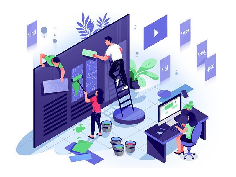 UI Design purple painting people website frontend backend coding illustration uiuxdesign uidesign ui