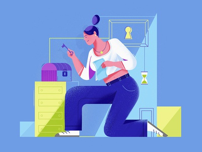 Escape room mystery secret motion animation illustration box key colorful texture textured flat design woman character escape room