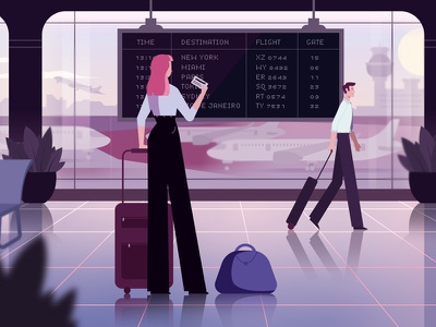 At the airport planes background flat vector design explainer video animation airplane characters illustration airport