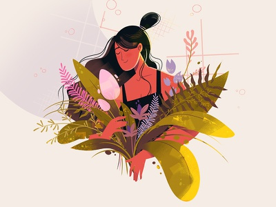 Wildflowers animation motion woman textured colorful plants flowers design character illustration wildflowers