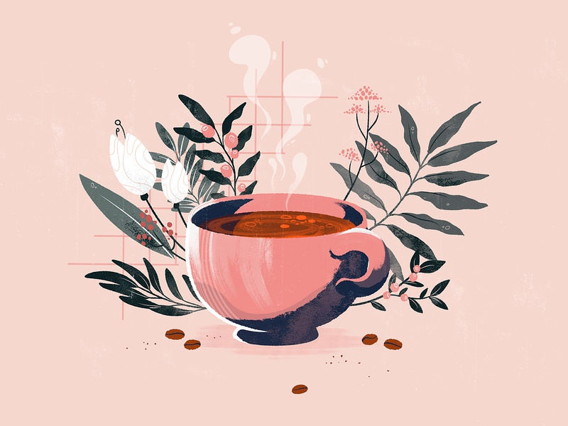 Coffee flavour simple editorial design cup textures animation explainervideo plants coffee retro illustration