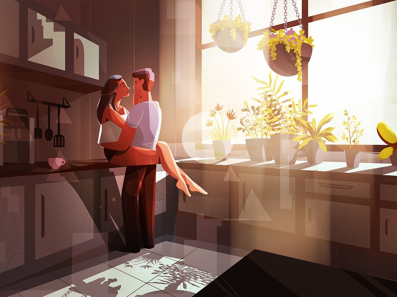 Sunlight illustration interior kitchen kiss couple love woman man characters light sun sunlight
