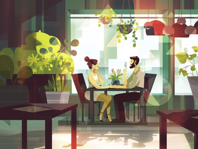 Sundays detailed geometric background animation explainer video characters character illustration love couple restaurant