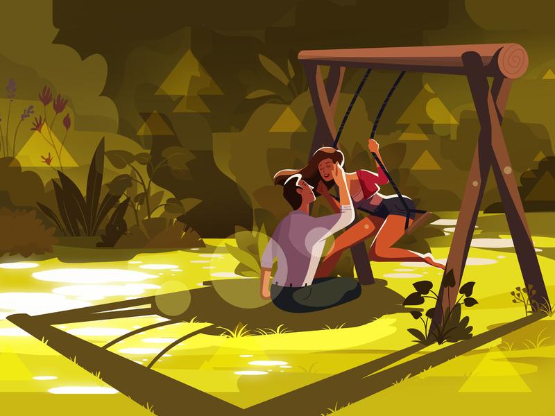 Swing animation love detailed explainer video geometric light character man woman couple illustration swing