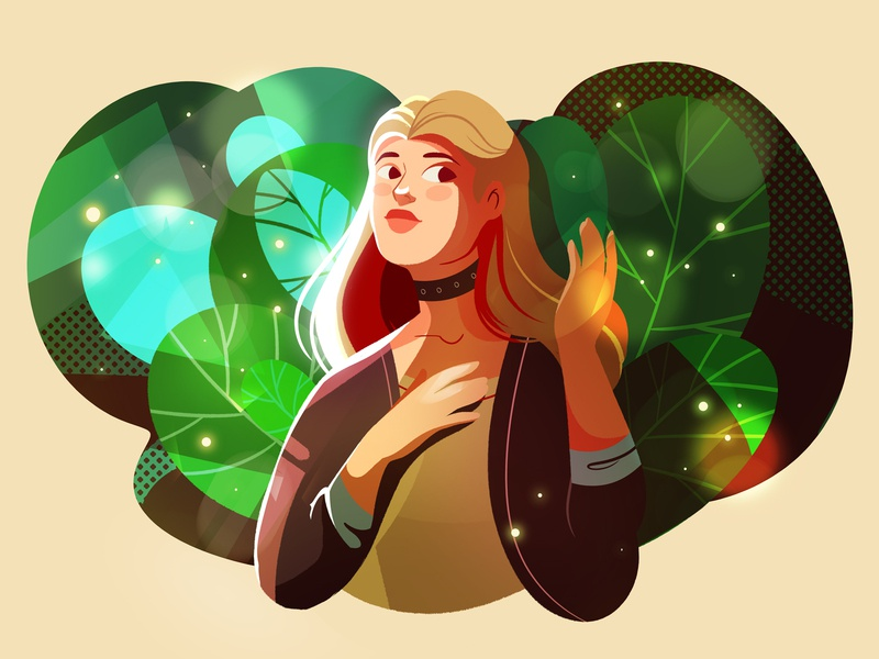 Fireflies illustration plants forest dark colors mystery ligthing light character woman fireflies