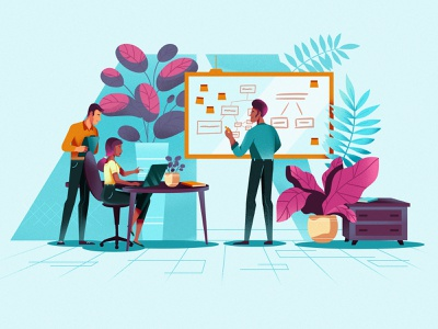 At the office animation plants man woman laptop working office characters character people colors illustration