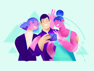 Let's take a photo explainer video man woman animation telephone photo characters purple flat design illustration