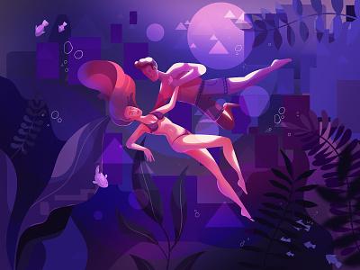 Underwater water light love characters people couple illustration underwater