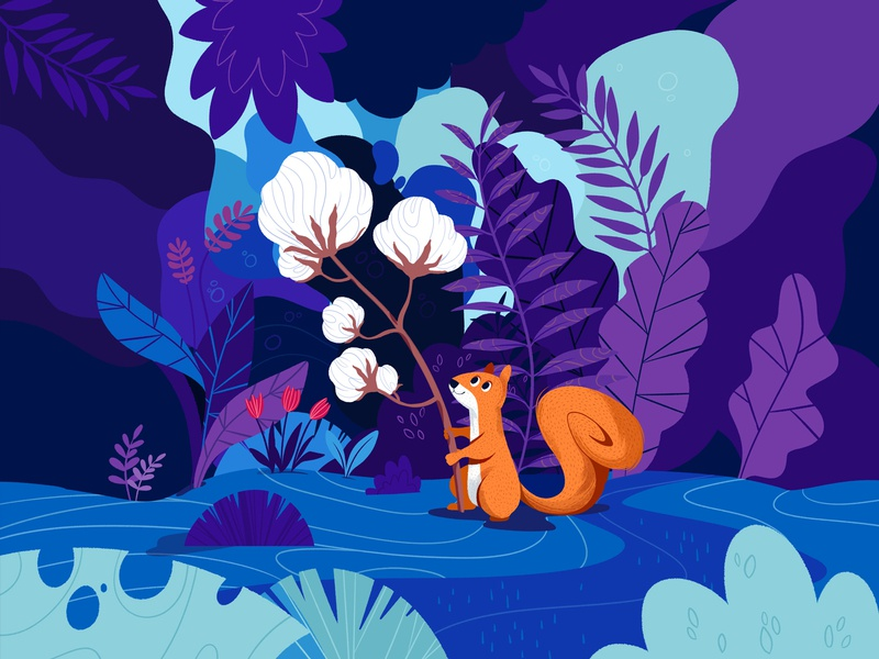 Squirrel and the cotton flower - Cosmetics mysterious plants flower cotton design packaging illustration squirrel