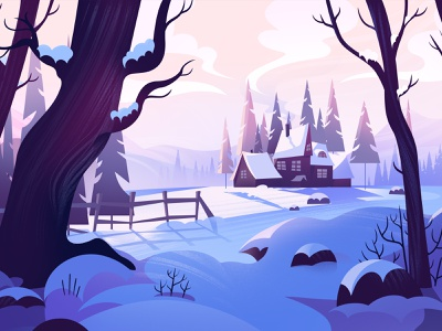 Equilibrium christmas adobe photoshop explainervideo landscape snow illustration winter