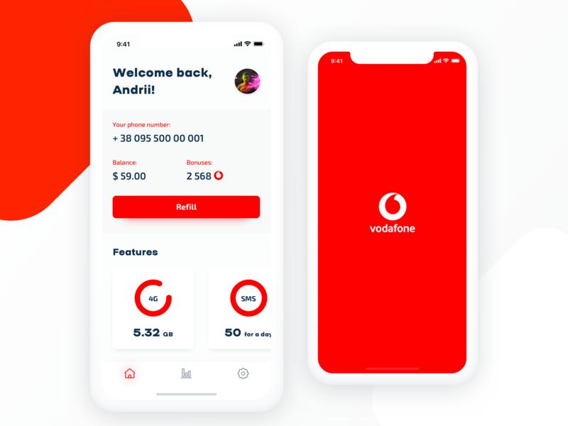 Simple concept for Vodafone App ios iphonex sketch clean  creative vodafone clean app design clean app clean mobile app design ux ui