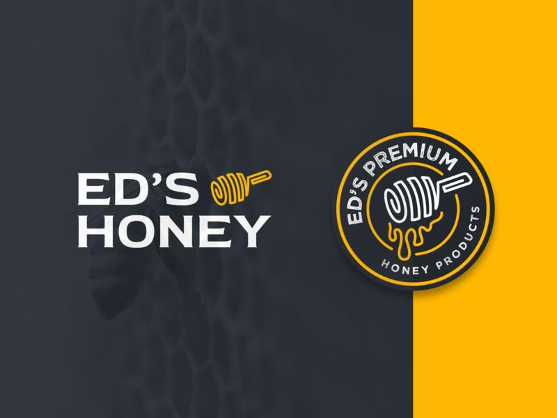Ed's Honey 🍯 minimal branding logotype honey bee clean vintage badge figma brand identity branding brand logo