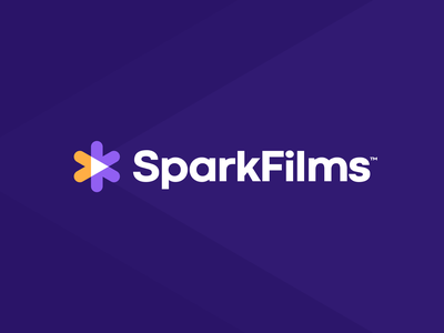 SparkFilms mark icon gold purple logotype minimal product light camera button play film spark figma exploration brand identity branding brand logo