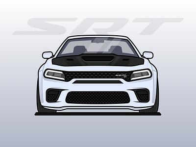 Dodge Charger Hellcat Redeye srt vector figma redeye hellcat charger dodge muscle car car illustration