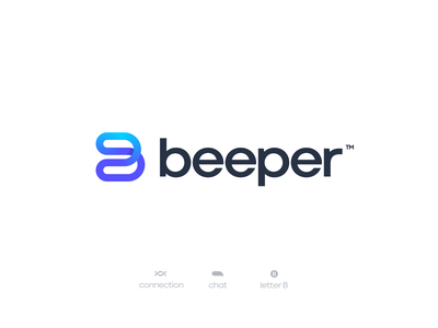 Beeper Concept mark logotype minimal branding chat flow connection letter b figma concept branding brand logo