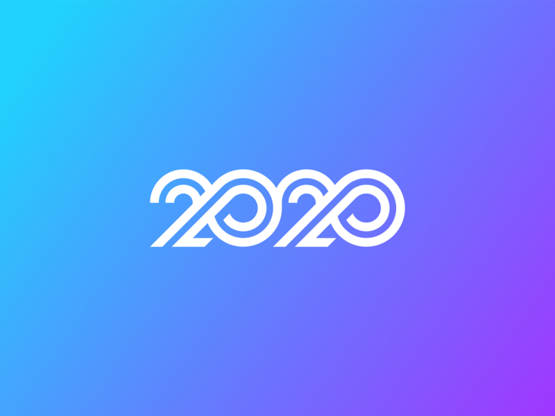 Happy New Year! monogram figma gradient new year simple concept minimal typogaphy lettering logotype logo 2020