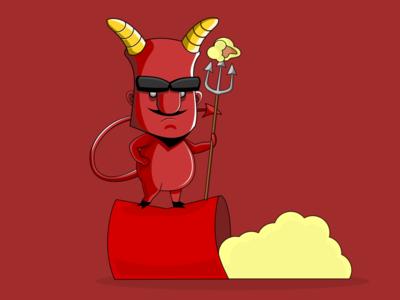 Devil of PopCorn funny vectorial inkscape vector illustration horns beard popcorn devil