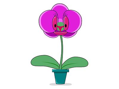 Orchidella inkscape illustration vector orchidea funny fun pot plant green