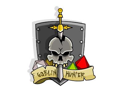 Goblin Hunter shield sword fantasy die dice skull dragons dungeons dd hunter goblin