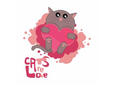 Cats Are Love pets pet animals animal kawaii cute funny heart love cat