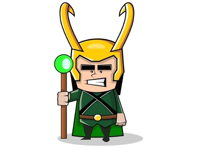 Loki nordic circus valhalla god divinity myth norse illustration vector hero marvel