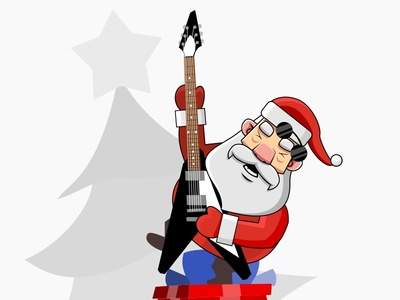 Merry Xmas tree metal guitar rock holidays babbonatale babbo natale navidad santaclaus claus christmas xmas santa