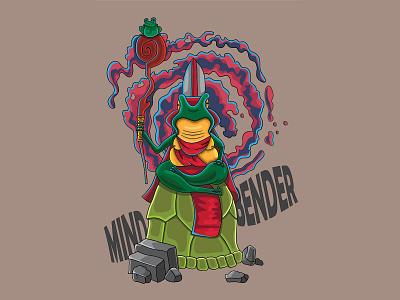 Mind Bender green kawaii funny character illustration vector toad frog mindbender bender mind