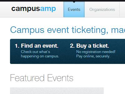 CampusAmp Events Page campusamp events blue header