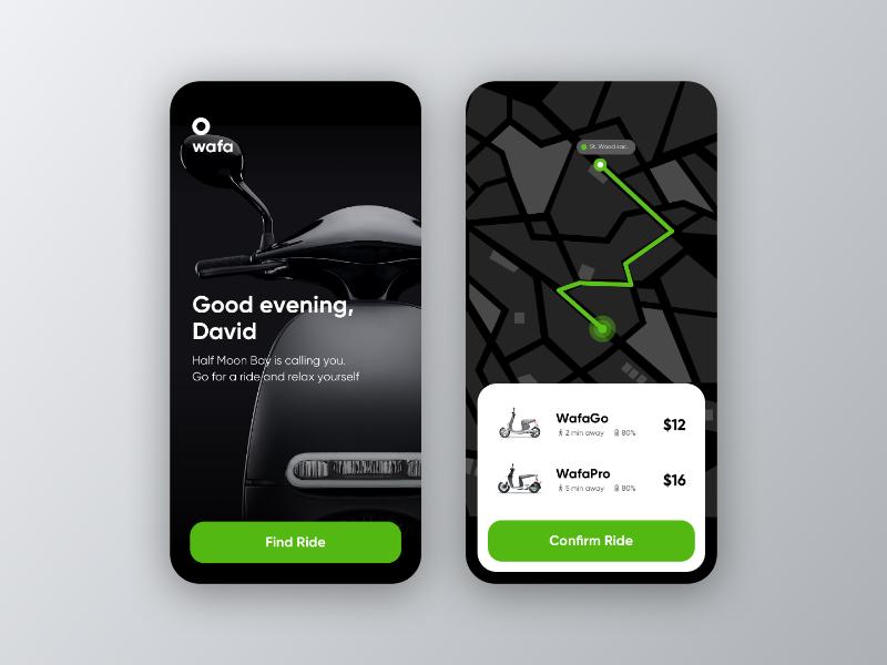 E-Scooter Rental app dark mode dark ride app design rental electric visual design scooter ui