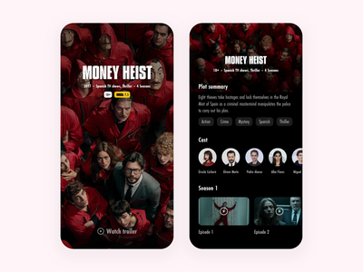 Money Heist - Web series tv series tv shows design mobile app web series netflix money heist clean ui dark mode dark app design uiux design ui visual design