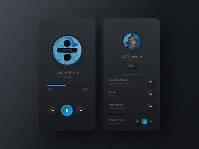 Music Player App user interface ed sheeran mobile ui mobile app music player music app music skeuomorphic skeuomorphism skeuomorph design dark mode dark clean ui app design ui visual design