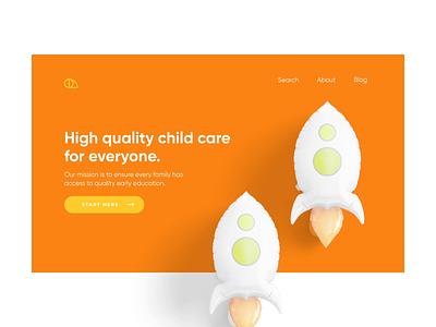 Child care service - Website service design webdesign animation interaction website service child care children rocket orange minimalism minimal design hero section ui clean ui visual design